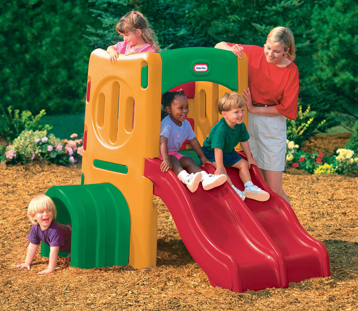 Twin slide tunnel climber for Little tikes outdoor playset